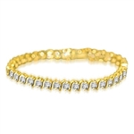 4.20ct S -curve bracelet in 14K Gold  Vermeil