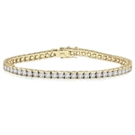 Diamond Essence classic bracelet, showing off appx. 6.0 cts. round briliiant stones set in tension bar setting of Gold Vermeil.