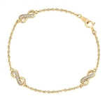 "Infinity Bracelet with 0.20 ct. Round Brilliant Diamond Essece Round Stones. 7"" Length, Gold Plated Sterling Silver."