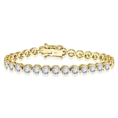 7 Inches Bracelet with delirious bezel set Round Brilliant Diamond Essence Masterpieces forming 5.60 Cts. T.W.