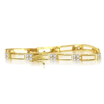 14K Gold Vermeil bracelet with two tracks of golden rails linked to 10- foursomes of round Diamond Essence masterpieces, 2.5 cts.