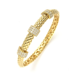 New Style Bracelet Bangle with 3 rows of exquisitley set Diamond Essence Round Masterpieces. 21 X 1.75mm in each row. Appx. 4 Cts. T.W.