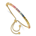 Diamond Essence Adjustable Bracelet With Multi Color Round Brilliant Stones in prong setting of Gold Plated Sterling Silver, 5.0 Cts.t.w.