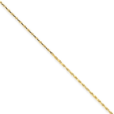 1mm Machine-made Rope Chain set in 14K Gold Vermeil.