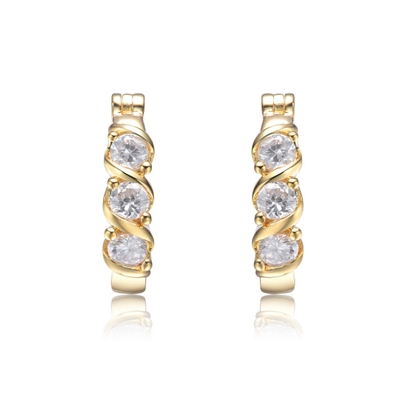 Diamond Essence Clip-On Hoops with Round Brilliant Stones in Gold Plated Sterling Silver, 1.60 Cts T.W.