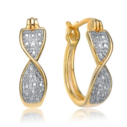 Diamond Essence Pair Of Gold Plated Twisted Hoop Earrings With Round Brilliant Pave set melee giving a Two -Tone Blend With A Clip-In Lock Type, 0.50 Cts.t.w.