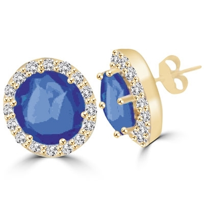 Sapphire&round stone GoldplatedSilver stud earring