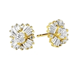 Magnificent star bright Earrings with Round Brilliant Diamond Essecne and Baguettes Masterpieces, 1.25 Cts. T.W.in Gold Vermeil.