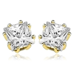 Princess cut square stone stud earrings gold vermeil