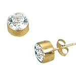 Diamond Essence 0.5 carat each, round brilliant stone set in 14K Gold Vermeil tubular bezel setting. 1.0 ct.t.w. Choice of 2 and 4 ct.t.w. available.