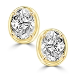 Oval studs diamond earring in Gold Vermeil