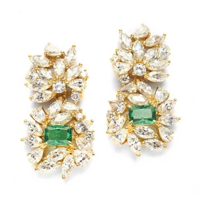 Designer earrings, just perfect for special occasions. Diamond Essence Emerald cut Emerald Essence, 1 ct. stone set in four prongs and surrounded by Marquise, Pear and Round Brilliant Essence stones in artistic floral design. 15 cts.t.w. in Vermeil.