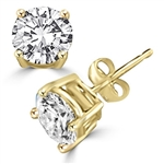 Diamond Essence Ear studs, 0.75 carat each, set in 14K Gold Vermeil prongs settings, 1.50 Cts.T.W.