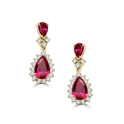 Gold Vermeil earrings. 7.0 carats t.w. each with 2.0 carat pear cut Ruby Essence and accents.