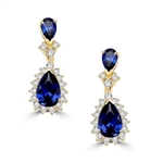 Gold Vermeil earrings. 7.0 carats t.w. each with 2.0 carat pear cut Sapphire Essence and accents.