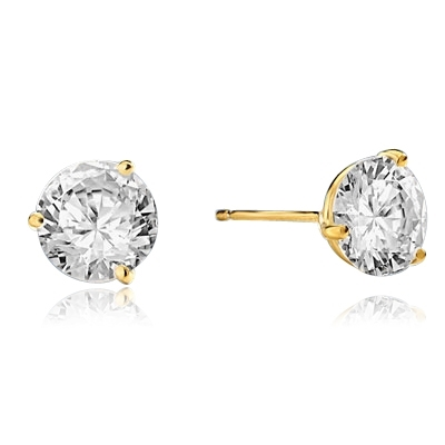 Pair of Studs in three prongs Martini Setting, Round Diamond Essence in each stud. 2.0 Cts T.W. set in 14K Gold Vermeil.