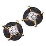 Gold vermeil black onyx & round stone earrings