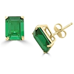 Gold vermeil emerald studs earrings