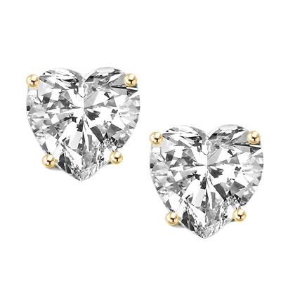 1 carat heart stud earrings in gold vermeil