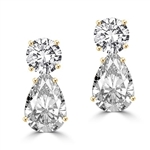 Best Selling Tear Drop Diamond Essence Earrings - White Brilliant Round Stone is 2 Ct and White Brilliant Pear Stone is 5 Ct. A Brilliant Sparkle of 14 Cts. T.W. for the pair of earrings! In 14k Gold Vermeil.