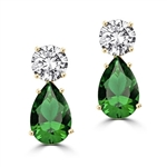 ​Best Selling Tear Drop Diamond Essence Earrings - White Brilliant Round Stone is 2 Ct and Emerald Pear Stone is 5 Ct. A Brilliant Sparkle of 14 Cts. T.W. for the pair of earrings! In 14k Gold Vermeil.