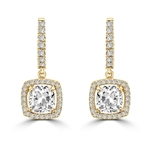 Diamond Essence Leverback Earrings with 1.0 ct. Cushion cut Round Brilliant Melee, 2.50 cts.t.w. in Gold Plated Sterling Silver.