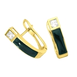 Hinged black-onyx earrings in 14K Gold Vermeil
