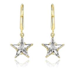 Special Cut Diamond Essence Blue Topaz Earrings in Lever Back Style. The dangling Star earrings make for an impressive 5 Cts. T.W. They are set in 14k Gold Vermeil.