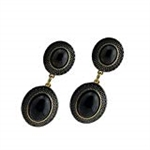Diamond Essence Black Agate Earring in Vermeil - VEL858BA