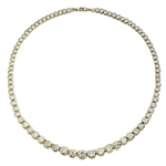 "16"" long Diamond Essence Designer Necklace with Bezel set, graduating Round Brilliant Diamond Essence, appx 26.0 cts.T.W. set in 14k Gold Vermeil."