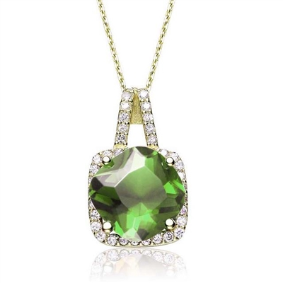 Diamond Essence Pendant with 5 Cts. Cushion cut Peridot  in Four Prongs surrounded by Brilliant Melee in 14K Gold Vermeil.