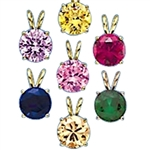 A brilliant-cut Diamond Essence pendant. 1.0 cts. t.w. stone in Gold Vermeil. Specify your choice of Diamond Essence Canary, Emerald, Pink, Lavender, Champagne, Sapphire, or Ruby.