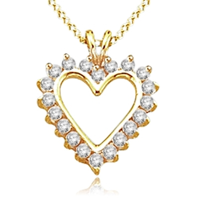 5 cts Heart Pendants in 14K Gold Vermeil