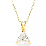Diamond Essence  Pendant with 3.0 ct Triangle stone in Gold Vermeil.