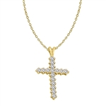 14K Gold Vermeil Cross Pendant with Round Brilliant Diamond Essence stones, 1.25 Cts.T.W.
