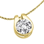 Diamond Essence 2.0 Cts. Round Brilliant Stone set in shell-like bezel setting of 14K Gold Vermeil, makes a delicate Slide Pendant.