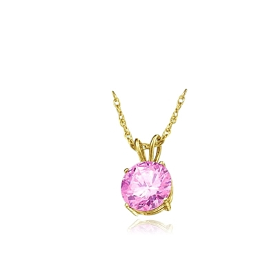"Diamond Essence lovely Pink Stone of 2.0 Cts. set in 14K Gold Vermeil four-prongs setting on 16"" chain.