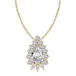 Clip Pearl Enhancer with 4 Ct. Pear Diamond Essence Center Enhanced by Round Brilliant And Marquise Cut Stones Forming 5.20 Cts. T.W. in 14K Gold Vermeil