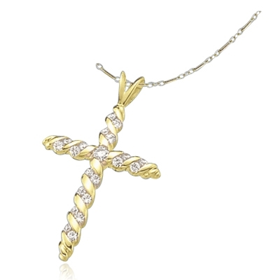 Diamond Essence round stones set in spiral gold twists to make this beautiful cross pendant. 0.45 ct.t.w. in 14K Gold Vermeil.