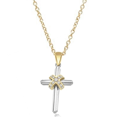 Pendant-0.25 ct center cross of round diamond