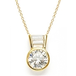 Diamond Essence Slide Pendant with 3.0 ct Round stone and Baguettes, 3.5 ct.tw. in Gold Vermeil.