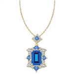 emerald cut aquamarine stone pendant in Gold Vermeil