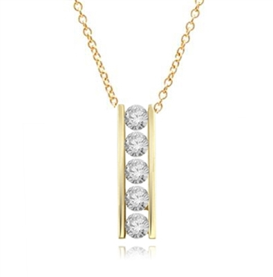 Diamond Essence round brilliant stones, 0.5 ct. each, set in a row between two bars channel setting. 2.5 cts.t.w.in Gold Vermeil.