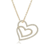 Two intervening hearts, showing off Diamond Essence Round brilliant melee set in Gold Vermeil pendant. 2.5 cts.t.w.