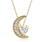Moon is yours-set in a perfect harmony this pendant with 1 carat heart essence and round brilliant masterpieces in Gold Vermeil. 1.20 cts.t.w.