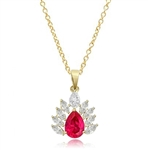 Diamond Essence Pendant with Pear cut Ruby and Brilliant Marquise Stones, 4.0 cts.t.w. - VPD7016