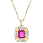 Diamond Essence 4 carat Ruby Emerald cut stone supported by silver bars on four corners and group of five round brilliant stones on each side. 6 cts.t.w. set in Gold Plated Over Sterling Silver.