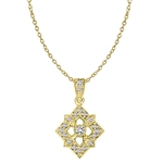 Diamond Essence Designer Pendant with Round Stones in Gold Vermeil