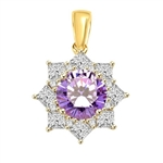 Pendant with Round Lavender Essence in center surrounded by Princess Cut Diamond Essence and Melee. 6.5 Cts. T.W. set in 14K Gold Vermeil.
