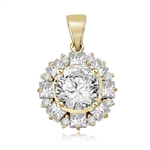 Designer Pendant with 4.0 Cts Round Brilliant Diamond Essence in center surrounded by alternately set in Princess Joy and Melee. 7.25 Cts T.W. in 14K Gold Vermeil.